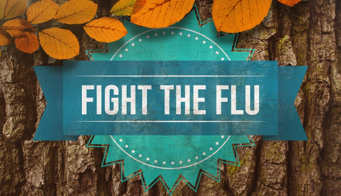Blue banner reading Fight the Flu on a bark background surrounded by atumn leaves